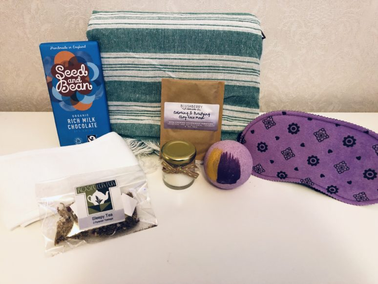 Picture of chocolate, bath bomb, towel, eye mask, face mask, scented candle